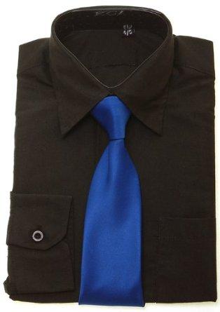 پیراهن مشکی و کروات آبی